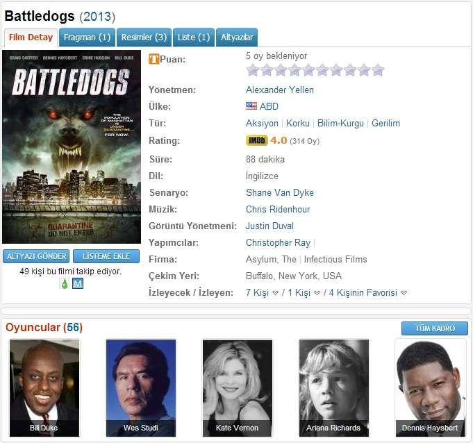 Battledogs - 2013 BDRip XviD - Türkçe Altyazılı Tek Link indir