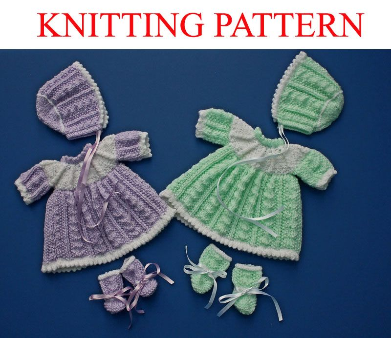 Knitting Pattern FOR 12 14 Inch Doll Clothes Dress Bootees Bonnet eBay